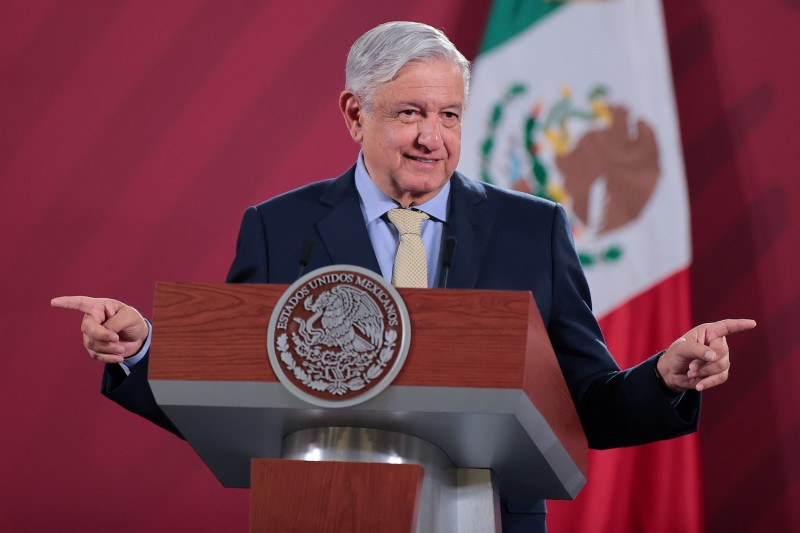 Mexican President Andrés Manuel López Obrador gestures during his daily morning briefing in Mexico City on June 10, 2020.