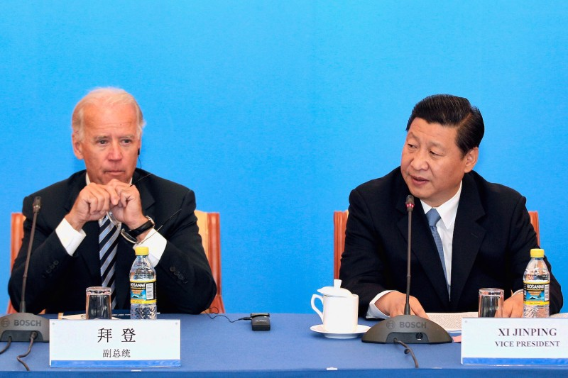 Then-U.S. Vice President Joe Biden attends a meeting with then-Chinese Vice President Xi Jinping at Beijing Hotel in Beijing, on Aug. 19, 2011.