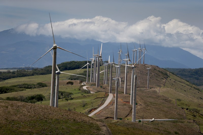 Wind turbines run by the Costa Rican Electricity Institute (ICE) are seen along a ridge line in Guanacaste, Costa Rica on March 26, 2015.