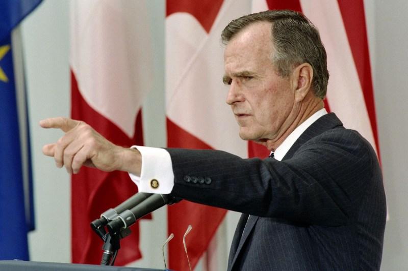 U.S. President George H.W. Bush speaks at a press conference in Munich on July 8, 1992.