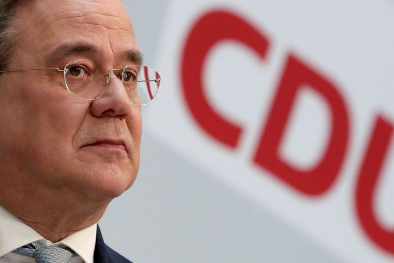 Armin Laschet, chairman of Germany's German Christian Democratic Union (CDU) party, attends a press conference in Berlin on March 15.