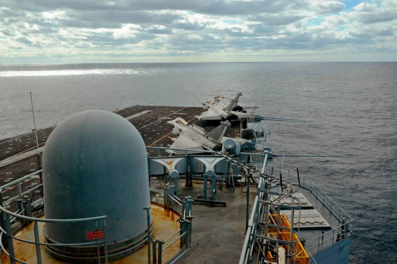 The deck of the French aircraft carrier, Charles de Gaulle, sails off the eastern coast of Cyprus on Feb. 10, 2020.