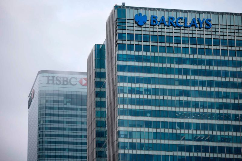 The offices of banking giants HSBC and Barclays are pictured at Canary Wharf in London, on Dec. 28, 2020.