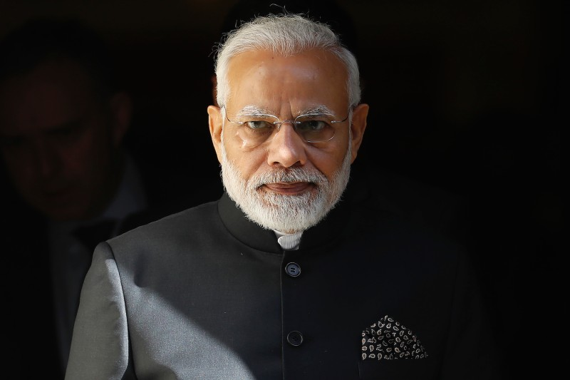 Indian Prime Minister Narendra Modi leaves from No. 10 Downing St. in central London on April 18, 2018.