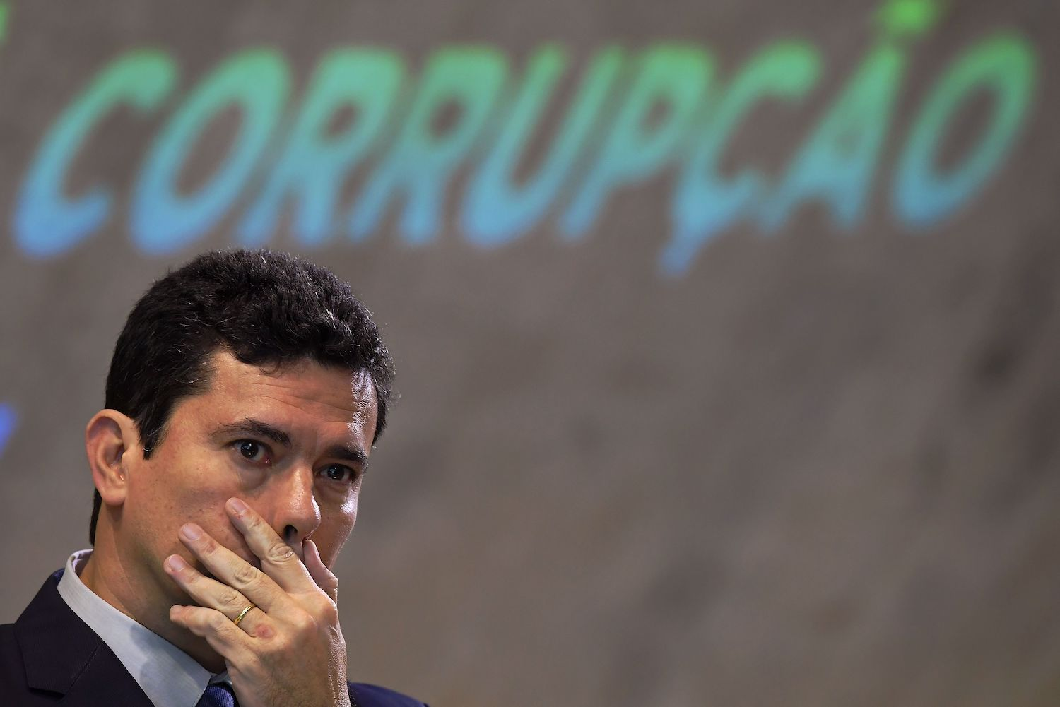 Sergio Moro gestures during a national forum on combating corruption in Rio de Janeiro, Brazil, on Nov. 23, 2018.