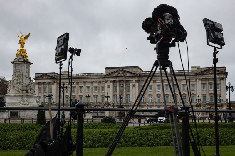 TV camera and lighting equipment is positioned outside Buckingham Palace in London on March 10.