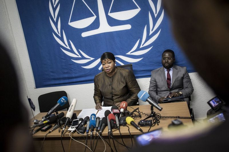 The International Criminal Court's chief prosecutor, Fatou Bensouda, holds a press conference.