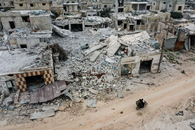 Destruction from heavy fighting and pro-regime airstrikes in Idlib, Syria.