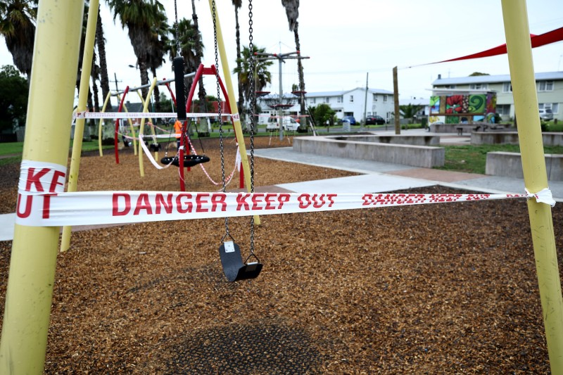 A child's playground is closed to prevent the spread of COVID-19 in Auckland, New Zealand, on March 4.