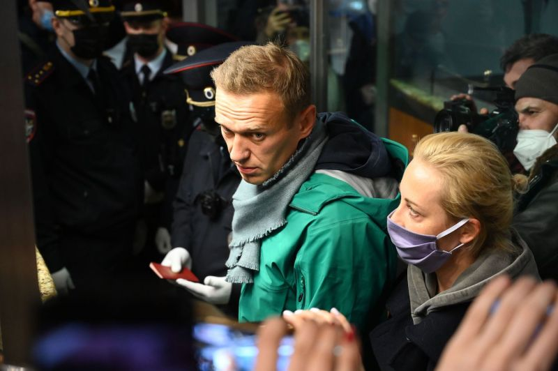 The Russian opposition leader Alexey Navalny and his wife, Yulia Navalnaya, are seen at the passport control point at Moscow's Sheremetyevo Airport on Jan. 17. Russian police detained Navalny at the airport shortly after he landed on a flight from Berlin.
