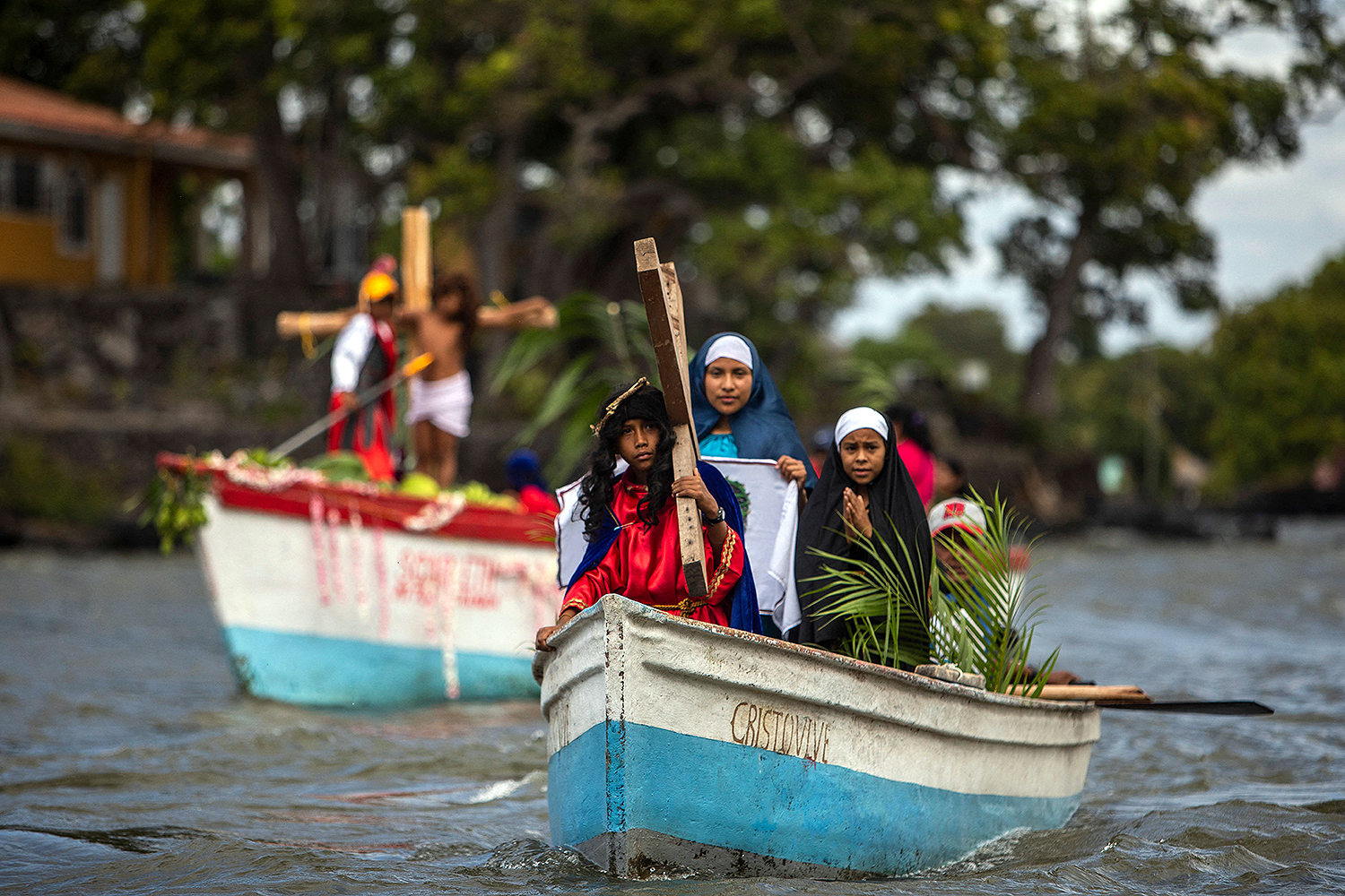 Amid Holy Week celebrations, Catholics participate in an aquatic reenactment of the Way of the Cross on Lake Cocibolca in Granada, Nicaragua, on March 29. INTI OCON/AFP via Getty Images