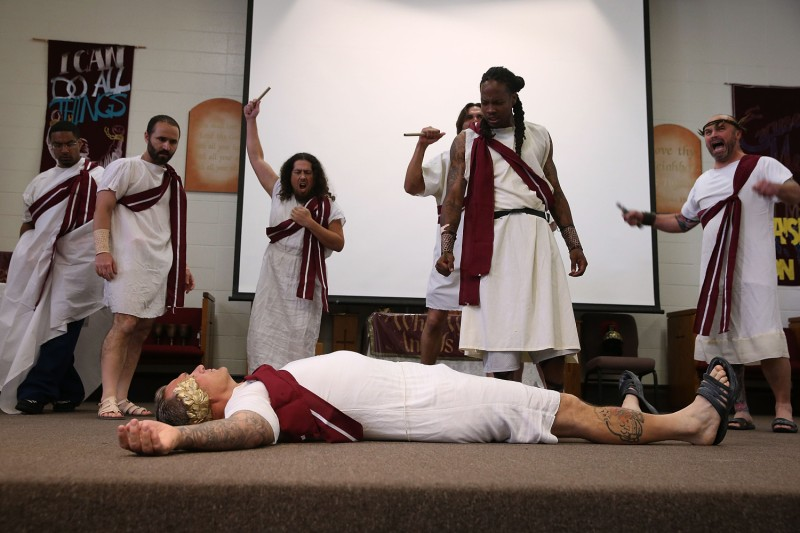 Inmates perform play by William Shakespeare.