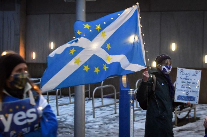 A protester holds a flag outside Scotland's Parliament.