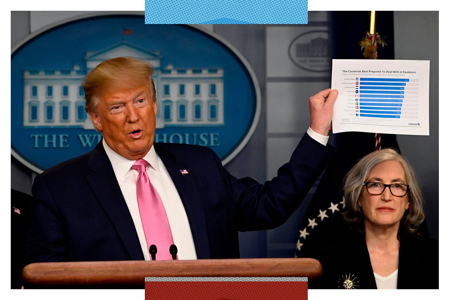 U.S. President Donald Trump holds a chart showing the United States' pandemic preparedness at a news conference on the COVID-19 outbreak alongside CDC Principal Deputy Director Anne Schuchat at the White House on Feb. 26, 2020.
