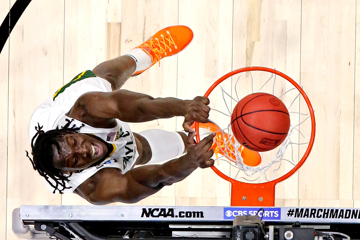 Baylor University forward Jonathan Tchamwa Tchatchoua dunks a ball during the first half of the Elite Eight NCAA Tournament game against the Arkansas Razorbacks at Lucas Oil Stadium in Indianapolis on March 29. Robert Deutsch/USA TODAY Sports via Reuters