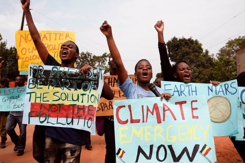 Young people march against climate change in Uganda.