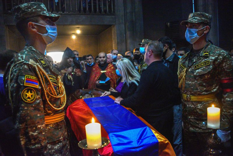 Funeral of an Armenian soldier in Yerevan.