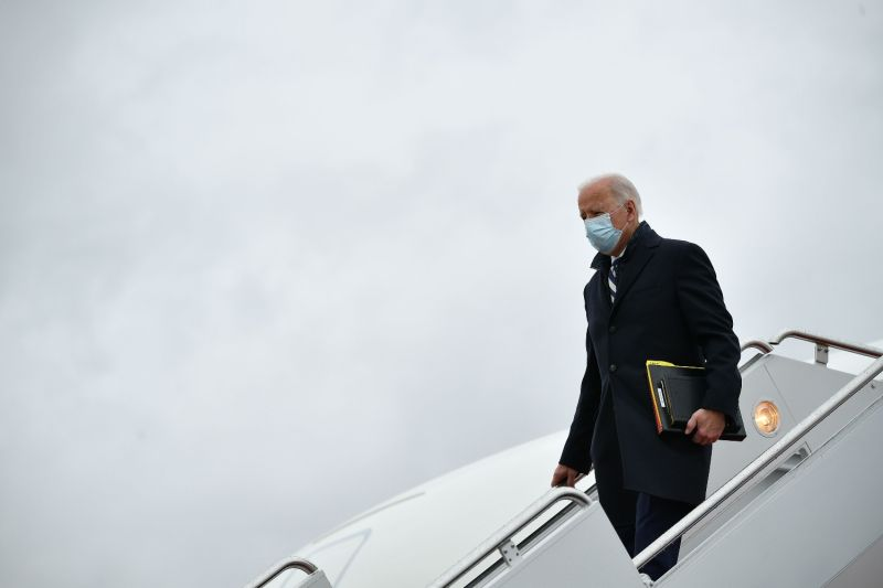 U.S. President Joe Biden steps off Air Force One upon arrival at Andrews Air Force Base in Maryland on March 1.