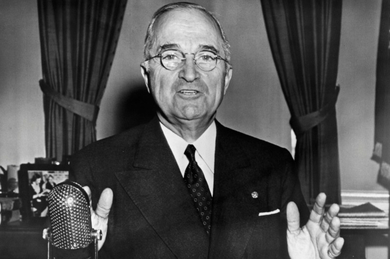 Truman gives foreign policy address during Cold War.
