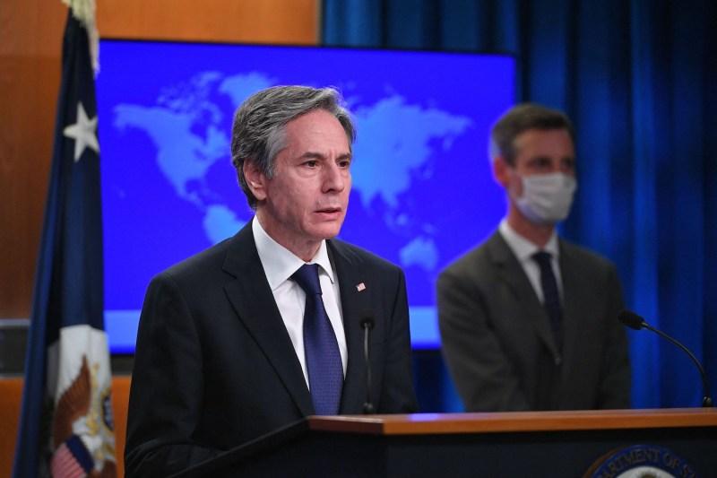 U.S. Secretary of State Antony Blinken speaks at the State Department in Washington on March 30.
