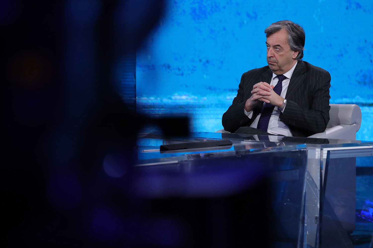 Burioni during a television appearance in Milan, Italy, on March 1, 2020.