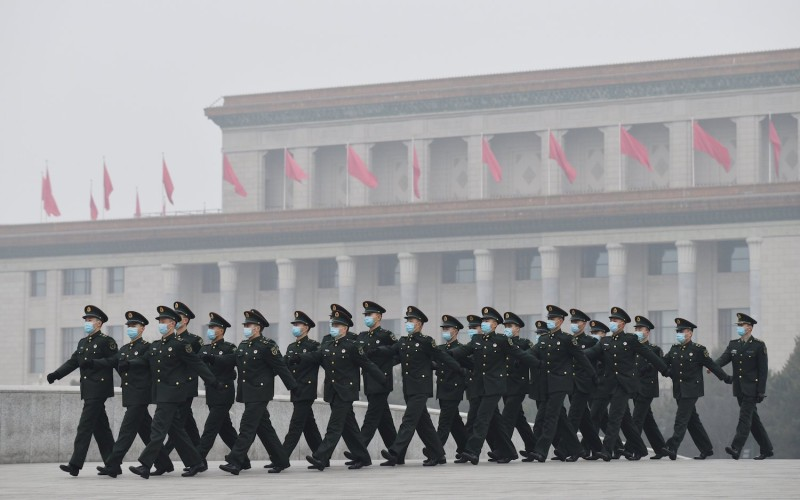Chinese soldiers march in Beijing