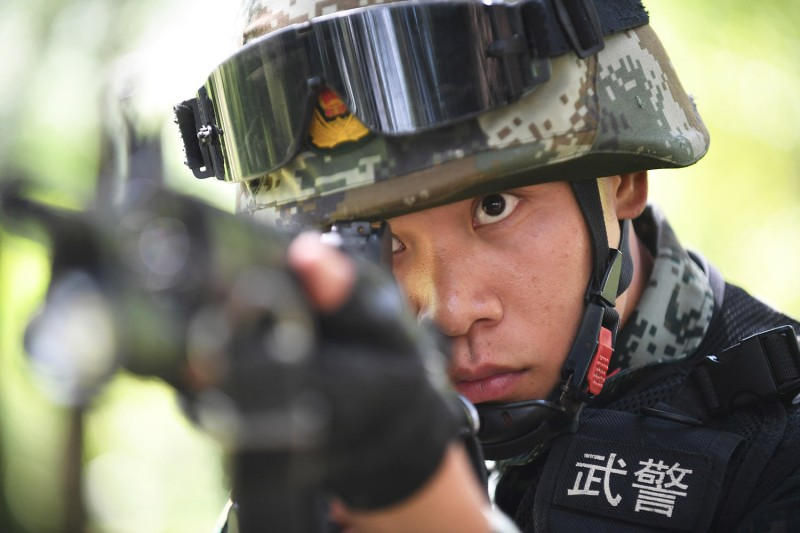 A Chinese People's Armed Police Force member conducts tactical training in Guiyang, China, on July 28, 2020.