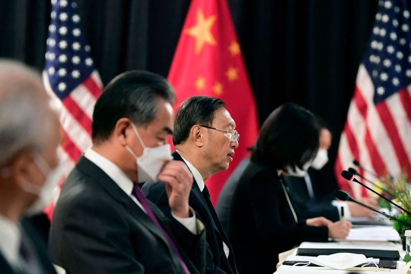 The Chinese and U.S. delegations speak at talks in Alaska.