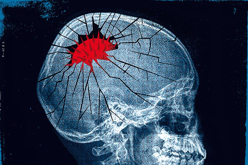 Illustration shows coronavirus cracking a skull to symbolize the failure of social science predictions.