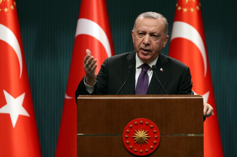 Turkish President Recep Tayyip Erdogan makes a speech as he holds a press conference following a cabinet meeting at the Presidential Complex in Ankara, Turkey, on Feb. 1.