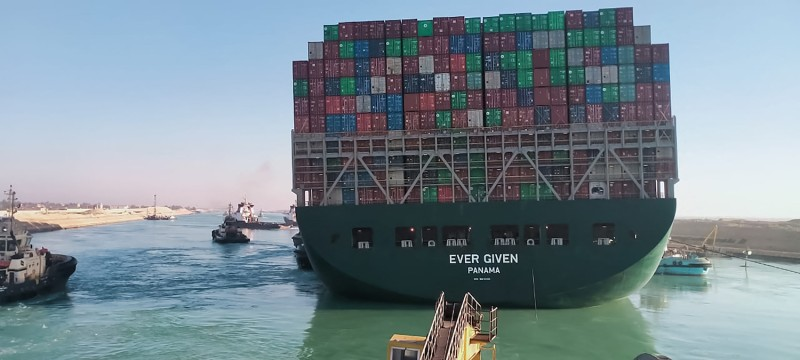 The Ever Given, a ship that was stuck in the Suez Canal