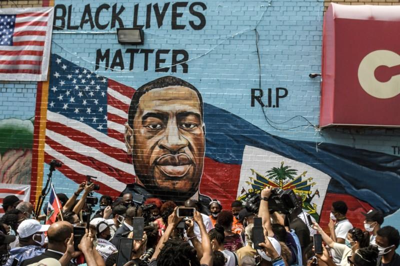 George Floyd mural unveiled in Brooklyn.