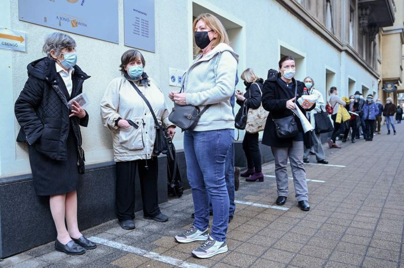 People wait to receive the Sinopharm vaccine in Hungary.
