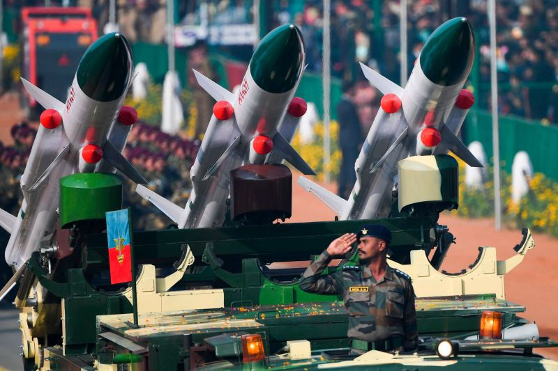 Indian Army soldier in Republic Day parade with Akash missiles.