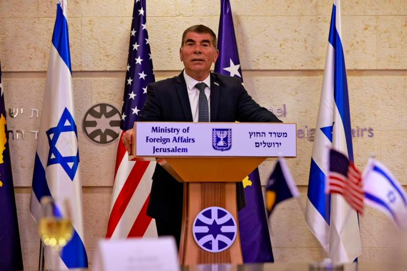 Gabi Ashkenazi gives a statement at the Israeli Foreign Ministry.