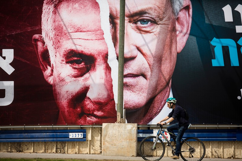Gantz and Netanyahu on an election billboard in Tel Aviv.
