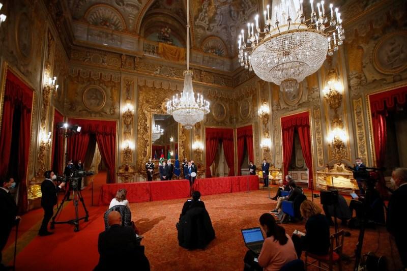 Sen. Vito Crimi speaks at Quirinal Palace.