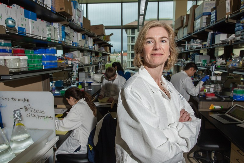 A portrait of Jennifer Doudna, inventor of the revolutionary gene-editing tool CRISPR.