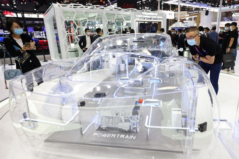 A transparent model car displayed at the Huawei booth during the Beijing International Automotive Exhibition on Sept. 27, 2020.