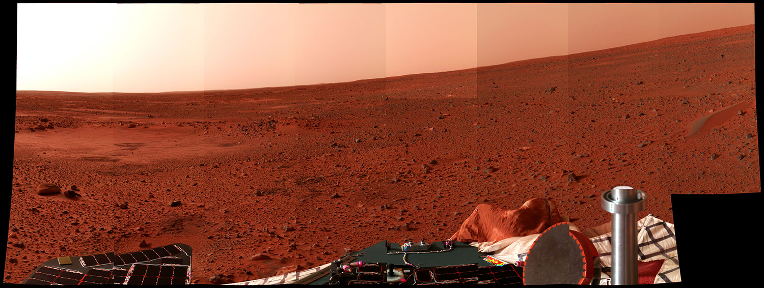 A panoramic view of the surface of Mars is taken.