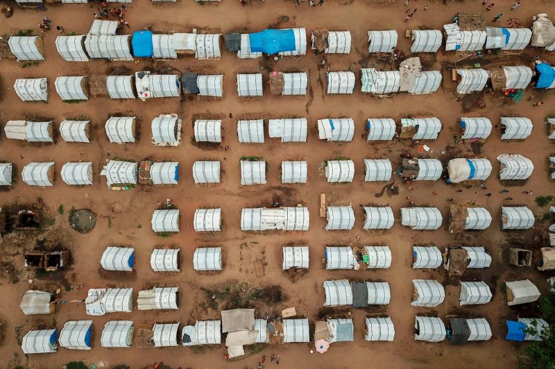 An aerial shot of temporary houses for displaced people in Cabo Delgado, Mozambique, on Feb. 24.