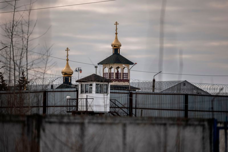 An Orthodox church on the grounds of the penal colony N2 in the town of Pokrov, where Kremlin critic Alexei Navalny has been transferred to serve a two-and-a-half year prison term for violating parole,on March 1, 2021.