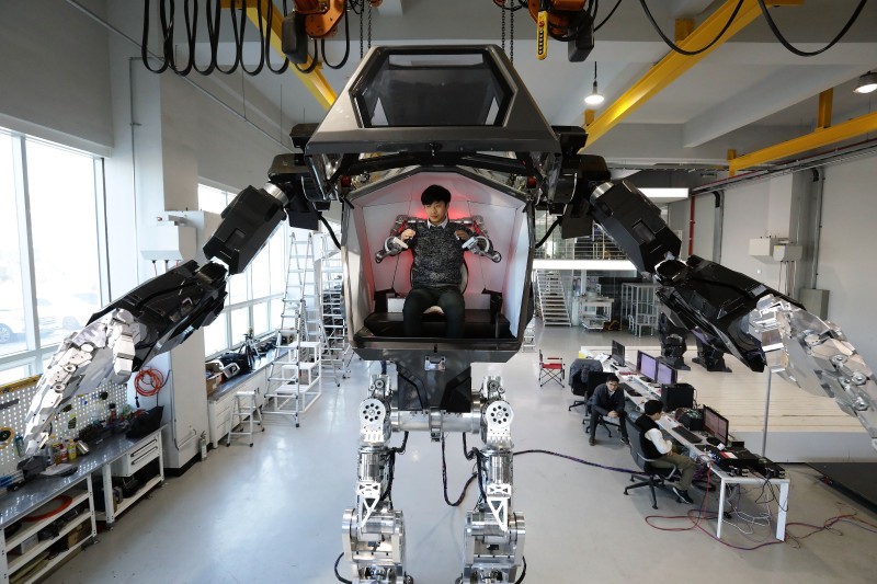 A manned walking robot developed by robotics company Korea Future Technology in Gunpo, South Korea, on Dec. 27, 2016.