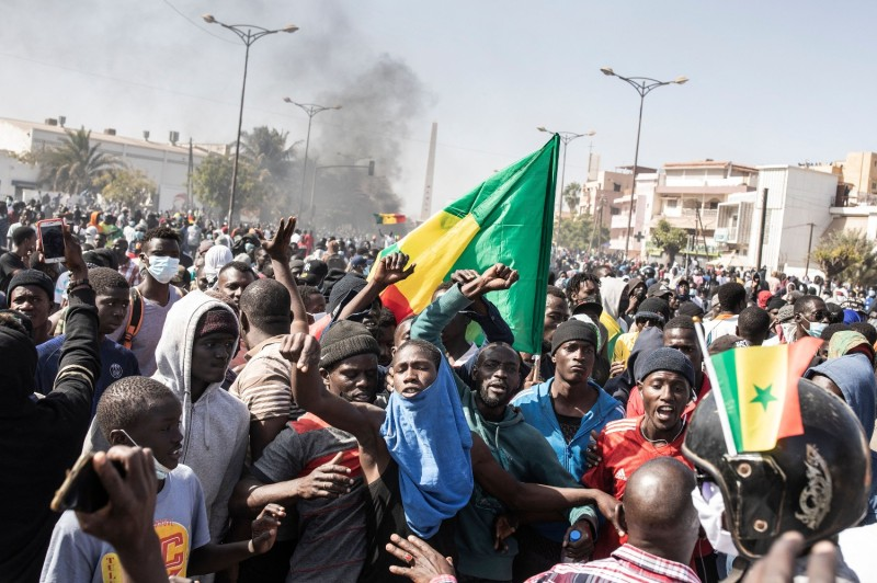 Protesters at Place de la Nation in Dakar, Senegal, on March 8.