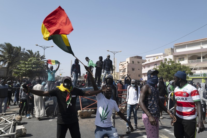 Supporters of Ousmane Sonko in Senegal.