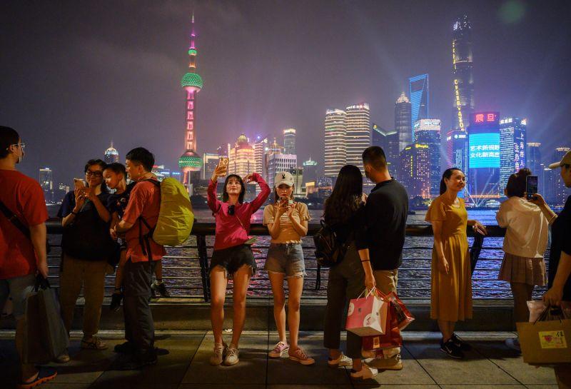 People visit the Bund in Shanghai