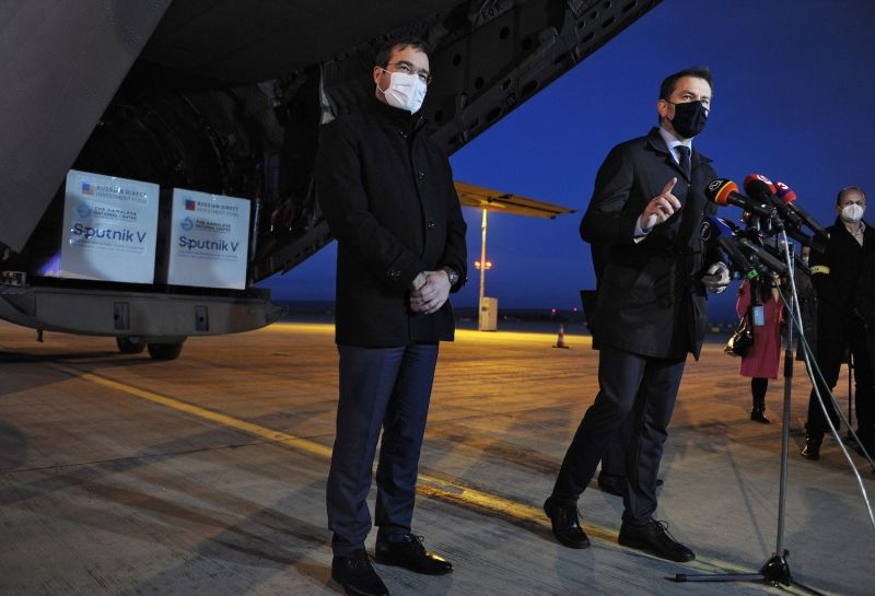 Slovakian Prime Minister Igor Matovic and Health Minister Marek Krajci speak at Kosice International Airport.