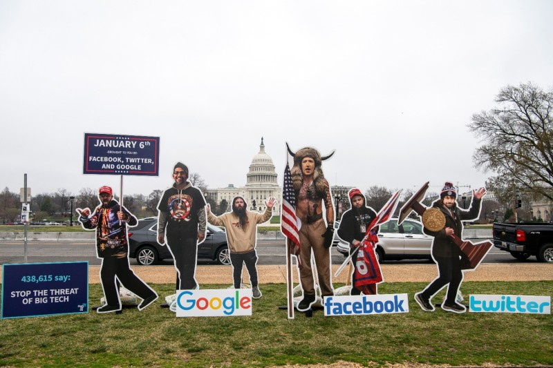 Cardboard cutouts during a protest on the National Mall in Washington.