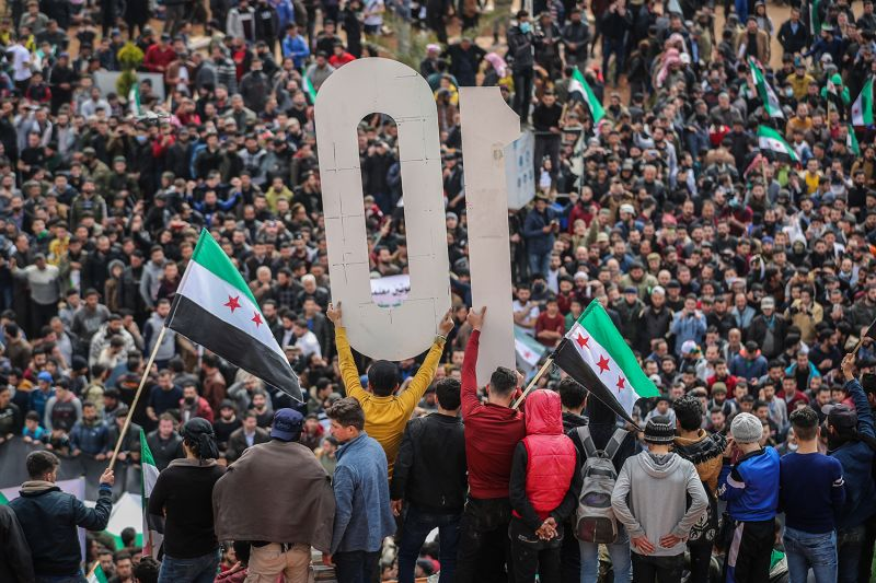 A mass demonstration in support of the Syrian opposition marks the 10th anniversary of the start of the Syrian civil war in Idlib, Syria, on March 15.