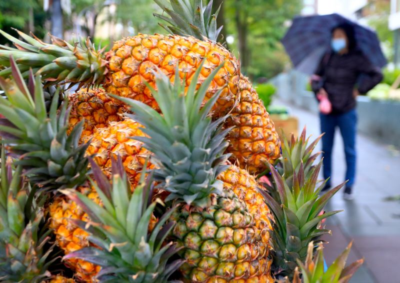 Pineapples sold on the streets of Taipei, Taiwan.